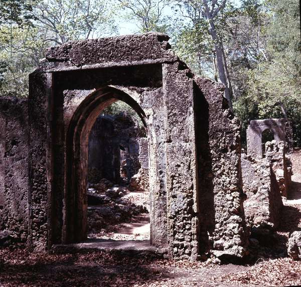The ruins of Gedi, an important East African city and centre of the slave trade between c