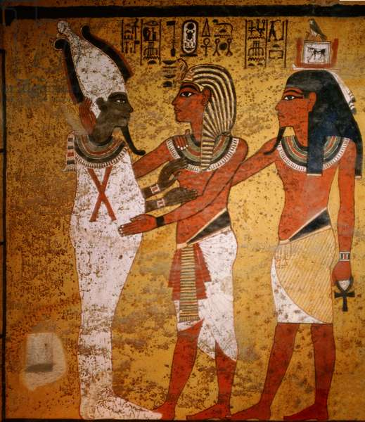 Wall painting from the tomb of Tutankhamun showing his burial