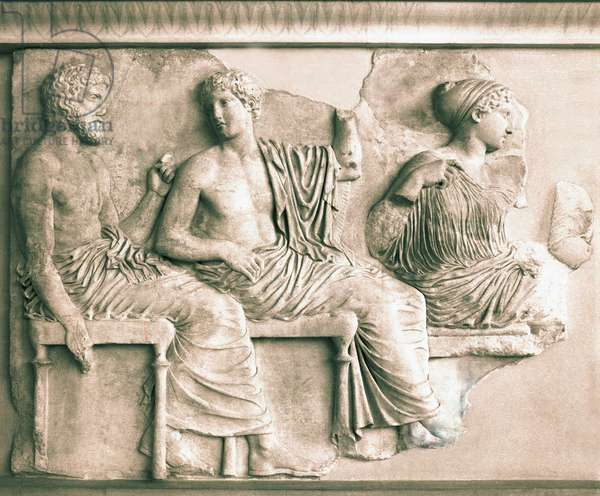 Detail from the eastern frieze of the Parthenon showing part of the Assemlby of the Gods