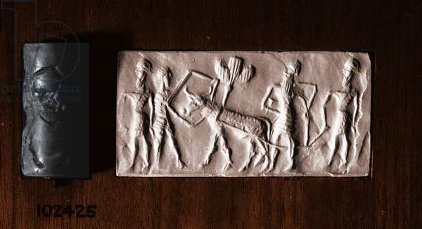Cylinder seal of a man holding an ox which pulls a seed-plough guided by two further bearded figures