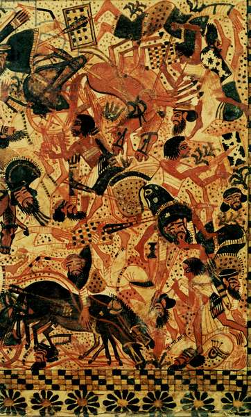 A scene painted on the side of a casket of Tutankhamun depicting a battle against the Syrians, Egypt's traditional enemies from the north