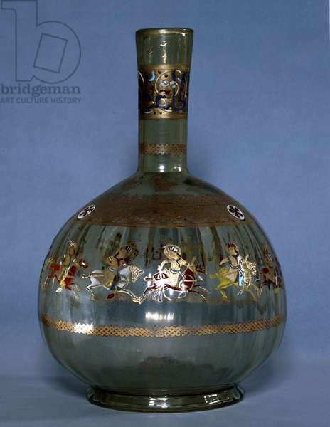 Mamluk glass hookah base decorated with images of polo players, Country of origin: Egypt