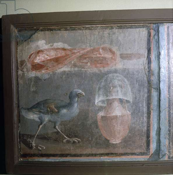 Painting: Still Life: bird, glass, bottle