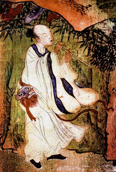 """A Taoist """"Immortal"""" playing a flute in the Tao paradise"""