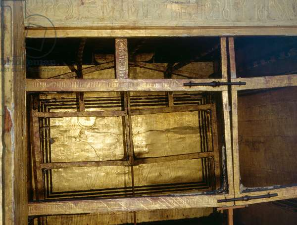 Rear wall of the innermost gilt shrine of Tutankhamun with the earliest known depiction of the sky as a cow supported by eight gods of Unending