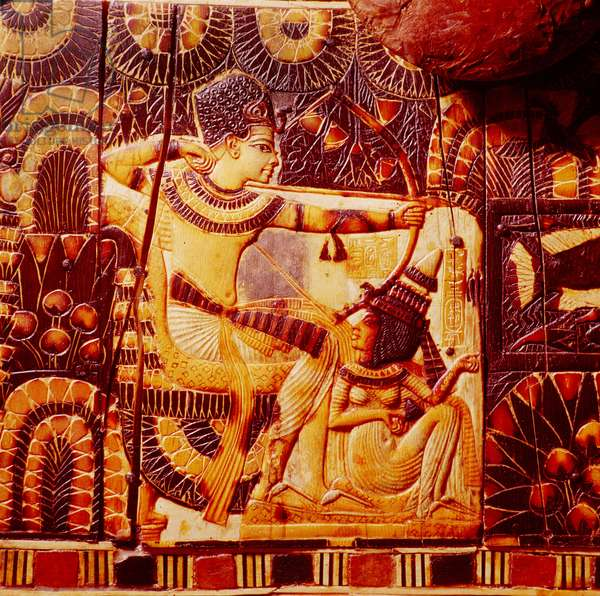 A detail of a hunting scene on the side of a chest from the tomb of Tutankhamun