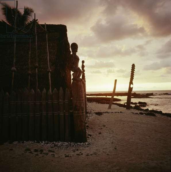 A Marae, temple site, near Hanaunau on the west coast of Hawaii