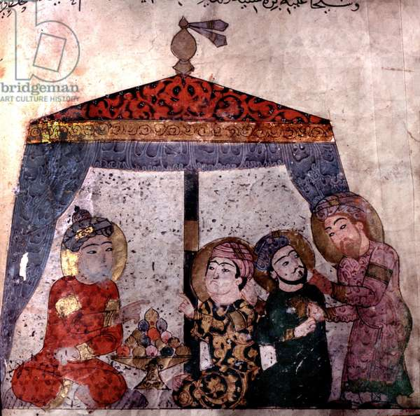 """Revellers in a tent from the """"Maqamat"""" of al-Hariri (gouache on vellum)"""