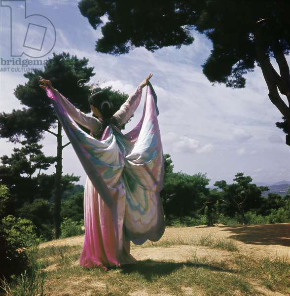 A dancer dressed as a butterfly in a pink and purple robe
