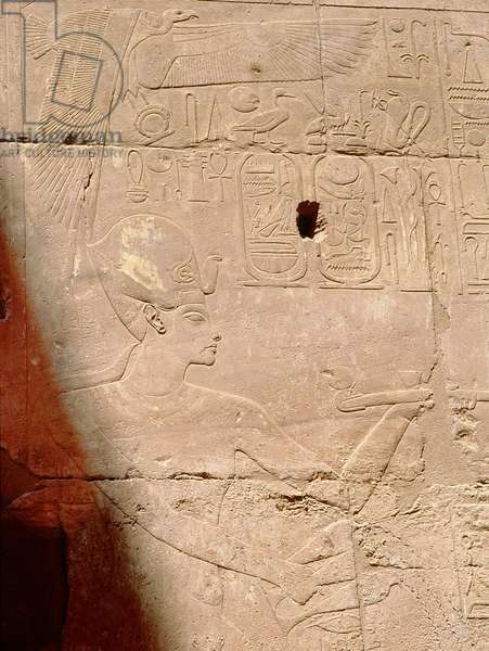 Relief showing Tutankhamun censing, from a series in the Luxor temple