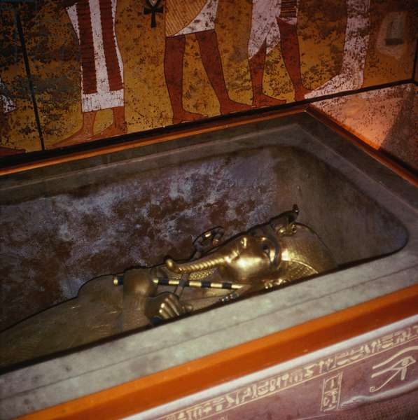 The gold coffin from the tomb of Tutankhamun