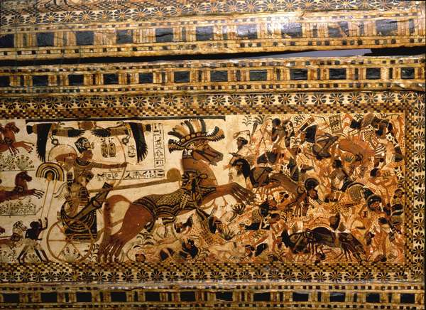 Side of the painted casket from the tomb of Tutankhamun