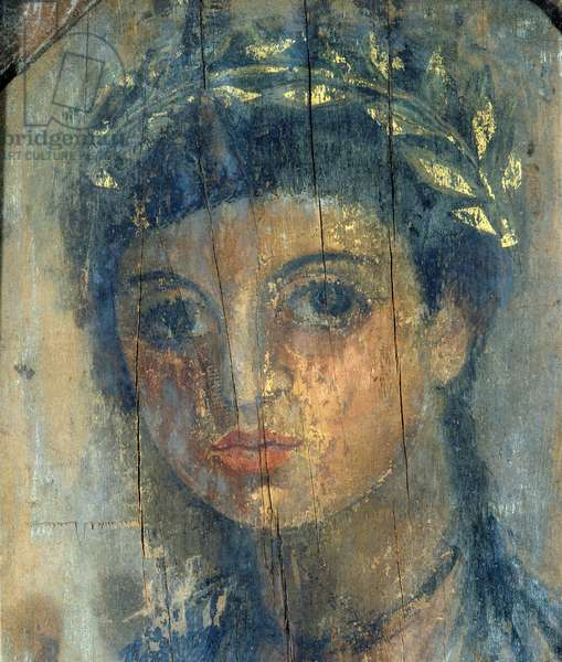 Portrait of a young woman, 50-70 AD (encaustic on limewood with gilt)