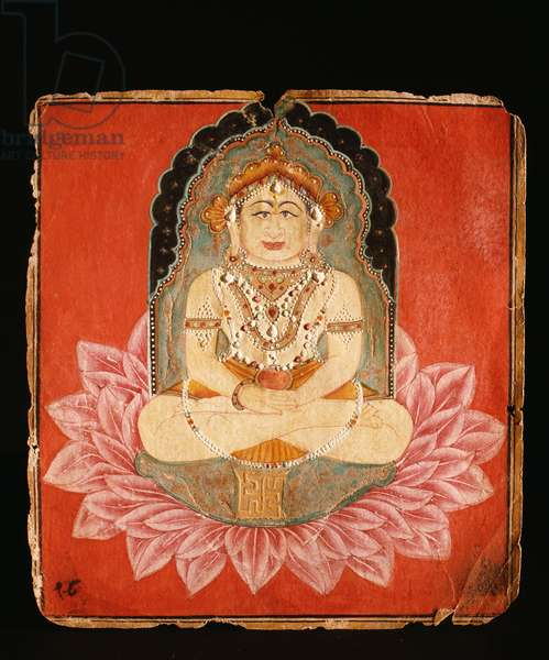 Votive painting depicting a Jina seated on an elaborate throne