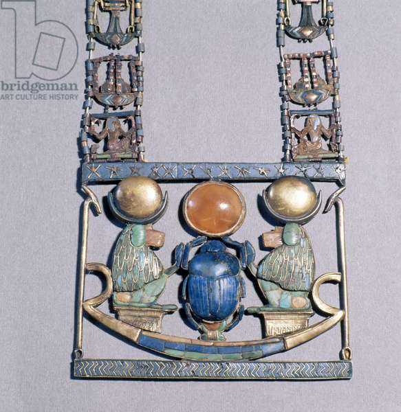 Necklace of the Rising Sun, from the tomb of Tutankhamun (c.1370-52 BC) New Kingdom (gold inlaid with semi-precious stones) (detail of 153788)