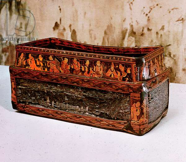 Found in a Han tomb in the Chinese colony of Lelang in north Korea (Nangnang), this lacquered basket bears representations of model sons