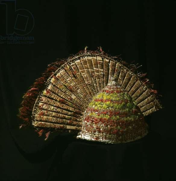A Hawaiian featherwork helmet