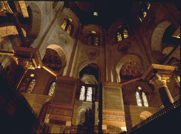 Interior with arabesque decoration in Fatimid Cairo