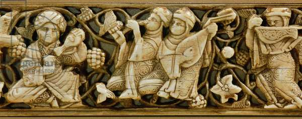 Carved ivory plaque from a piece of furniture