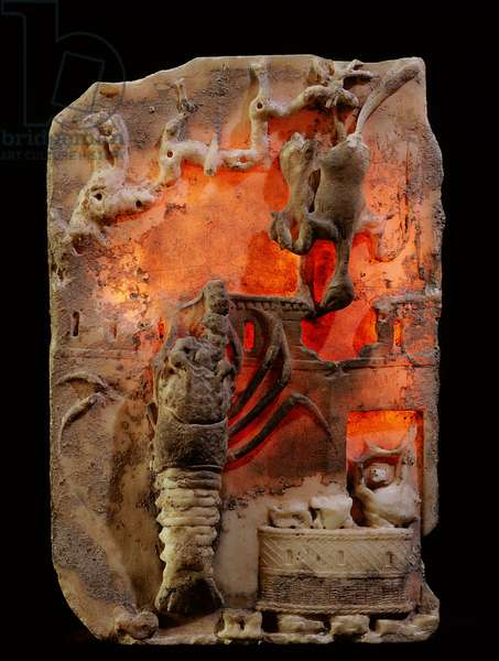 """Relief carving of a lobster combined with a typical """"sacred landscape"""" showing the wall of a shrine, possibly to the god Priapus"""