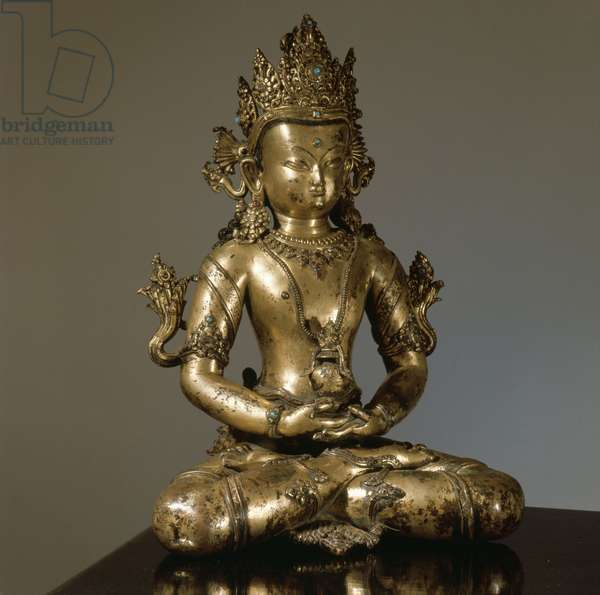 A statue of a Bodhisattva, one of those who undertakes to attain Nirvana, but who renounces it in order to help people on earth reach the same spiritual level