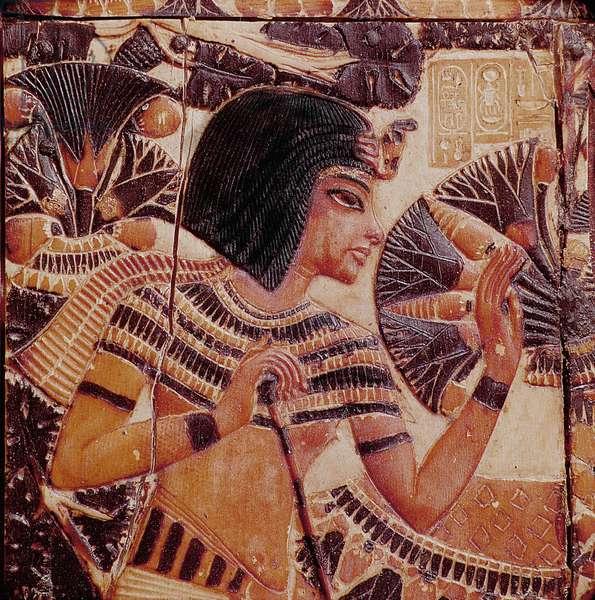 The lid of a casket of Tutankhamun