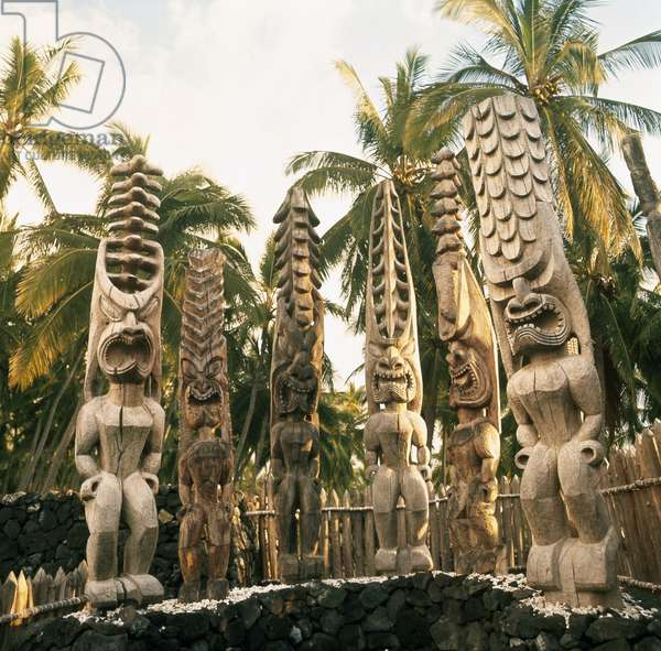 A cluster of tall wooden god figures at a Marae, temple site, near Hanaunau on the west coast of Hawaii