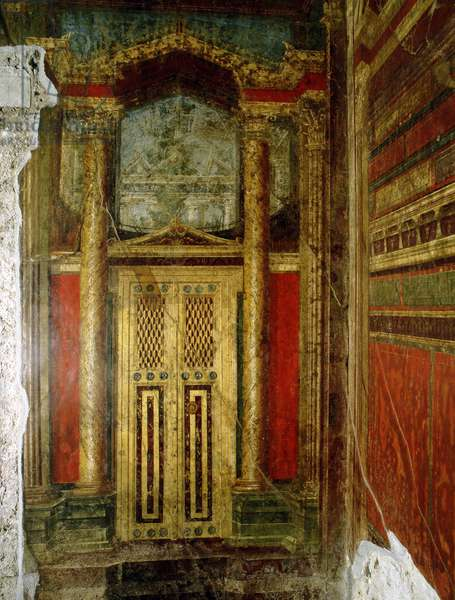 Fresco of an elaborately decorated doorway from the Villa of the Mysteries