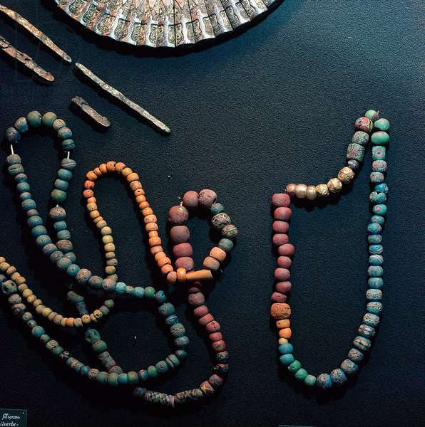 Coloured and ornamented glass beads which sometimes included beads of silver and gold