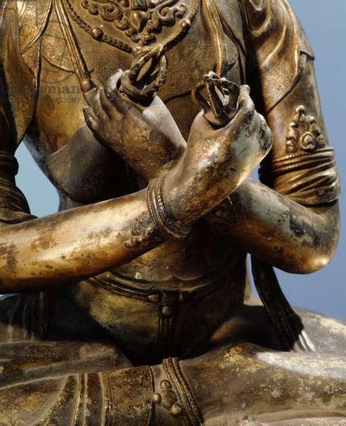 Detail of a statue of Vajradhara, the Supreme Buddha