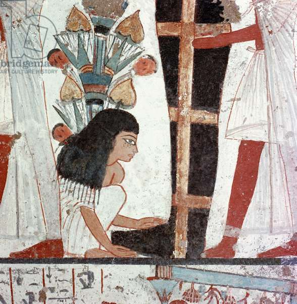 A detail of a painting of a funeral ceremony from the tomb of Nebamun and Ipuki, sculptors to Akhenaten and Tutankhamun