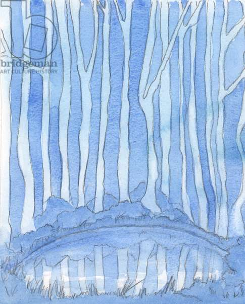 A deep pool in a forest clearing is like the mystery of the Godhead. It is unfathomable, but we can still 'enter' and know God more deeply by study and prayer, by knowledge and love, 2003 (w/c on paper)