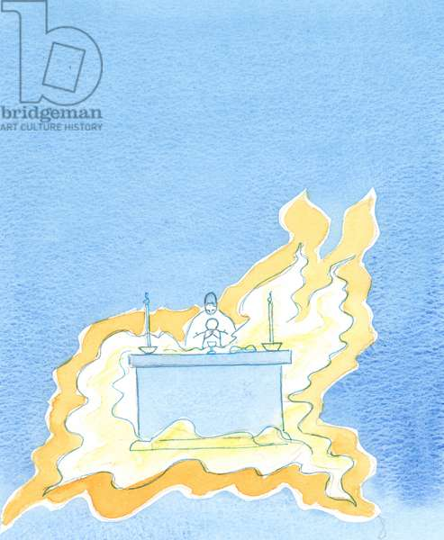 Flames billow out from the front of the altar, 2003 (w/c on paper)