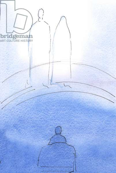 Christ and His Mother appeared to me, in glory, after Holy Communion. It was to encourage and console me, 2002 (w/c on paper)