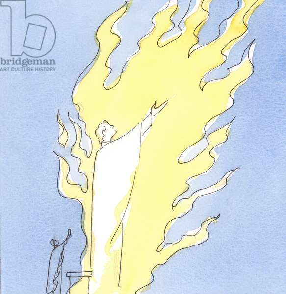 Whenever the Holy Sacrifice is offered from our altar, Christ Who is Present in sacramental form is praising the Father in the fiery love of the Holy Spirit, 2003 (w/c on paper)