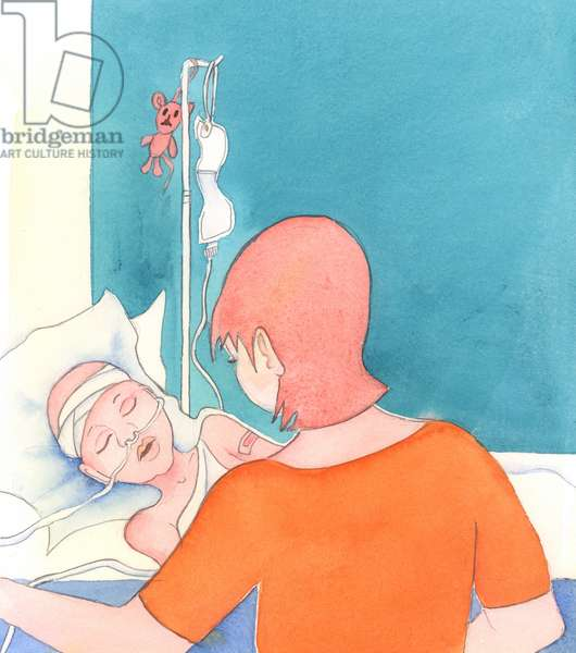 A mother with a seriously-sick child keeps loving her, 2005 (w/c on paper)