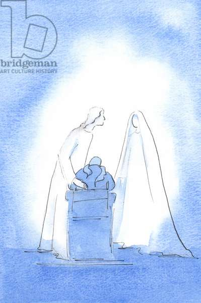 At the Easter Mass, I said that I wished I had known her better. Then Our Lady was beside me, greeting me, delighting in my joy, 2003 (w/c on paper)