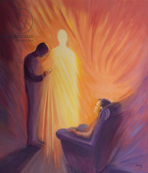 Jesus Christ comes to us in Holy Communion when we are sick or housebound, 2001 (oil on board)