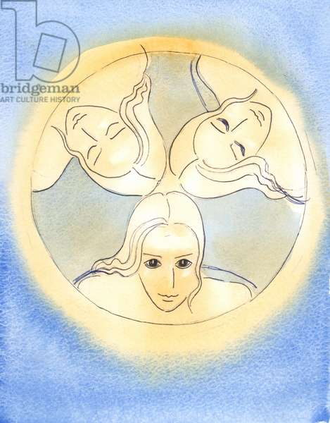 By this image, the Lord has provided a reminder that the Three Divine Persons are One God - Holy and undivided, 2003 (w/c on paper)