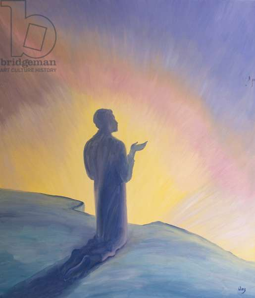 In his life on earth Jesus prayed to His Father with praise and thanks, 2001 (oil on board)