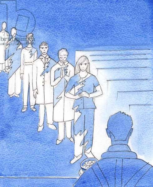No-one would want to walk down the aisle in a badly stained garment for everyone to see, 2003 (w/c on paper)