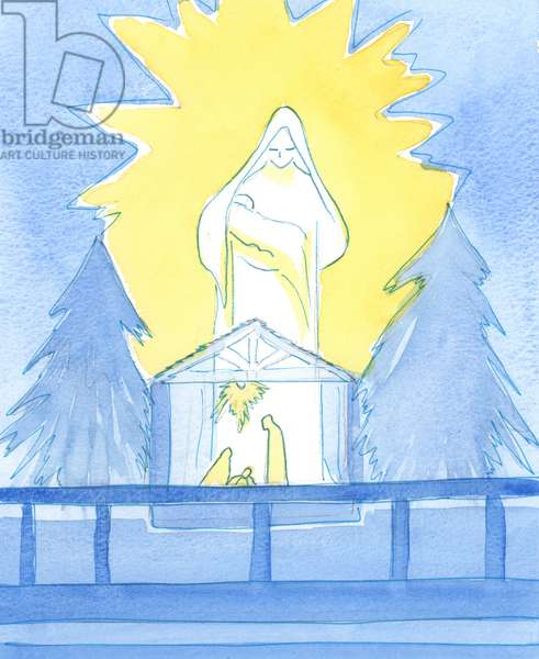 Our Blessed Lady stood in the Lady Chapel, in glory, showing how she shares our joy on the feast of the Birth of her son, Our Lord, 2003 (w/c on paper)