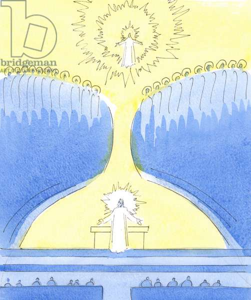Christ is Present in the tabernacle, ready to greet those who have chosen to be near Him, 2004 (w/c on paper)