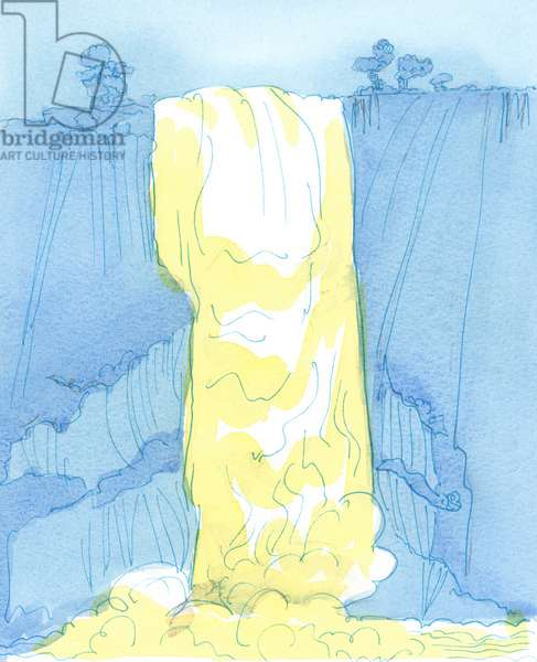 God's love 'falls' upon us unceasingly, as if from a waterfall, 2003 (w/c on paper)