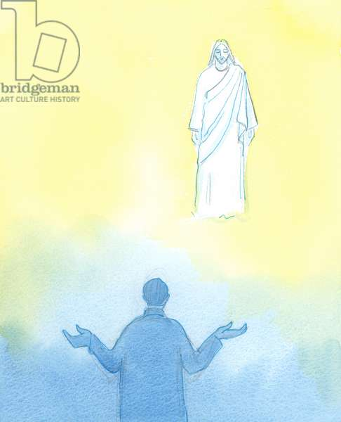 """Whoever faces Christ, and says sincerely: """"I'll do whatever you want"""", has begun the self-giving way of life found in the utterly self-giving love of the heart of the Holy Trinity, 2003 (w/c on paper)"""