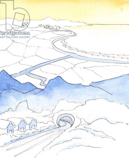 In the course of our spiritual life, the 'climate' changes, when someone moves from a 'snowy' area of loneliness and pain to a joyful area of sunshine and harvest - with much joy and fulfilment - before 'rising up' to Heaven., 2003 (w/c on paper)