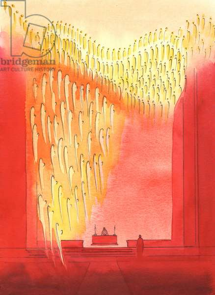 We would be surprised if we could see how grateful the Saints and Angels are, when we greet and honour them in church, 2003 (w/c on paper)