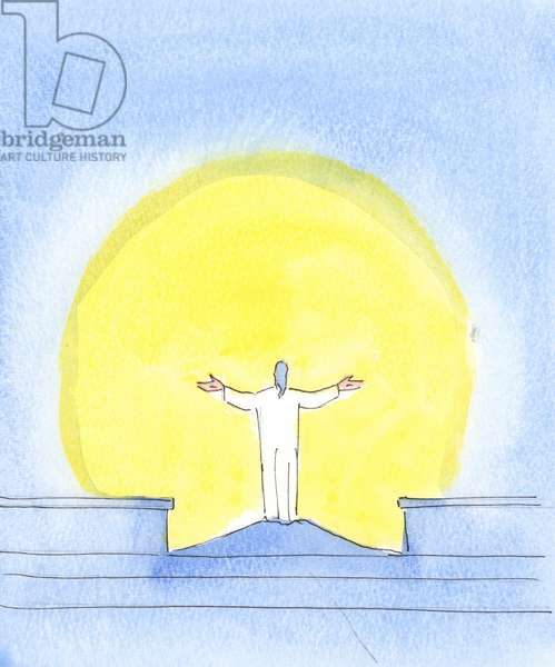 At every celebration of the Holy Sacrifice of the Mass, Christ is Really Present, praying for sinners, gazing towards the Father, just as when Christ once prayed from the Cross, 2004 (w/c on paper)