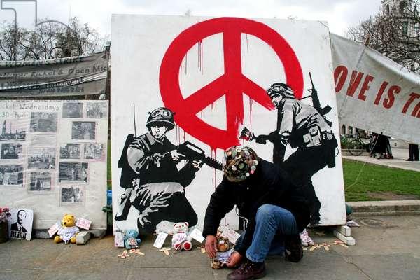 Brian Haw & Banksy art, Parliament Square, Westminster, London, UK, 10 April 2006