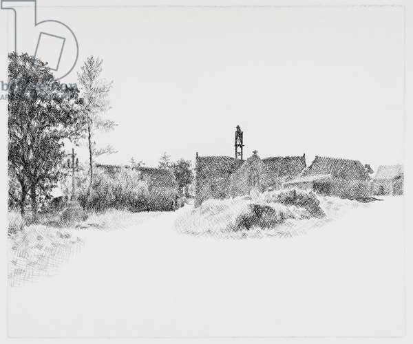 Chapelle de la Madeleine, Briec, 1971 (Conté Crayon on Paper)